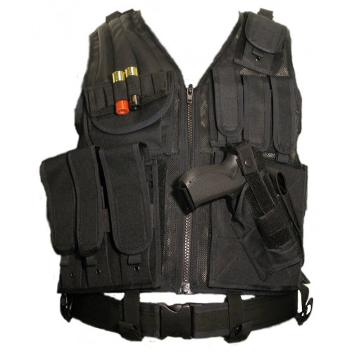 Mesh Tactical Vest with Pistol Holster & Belt